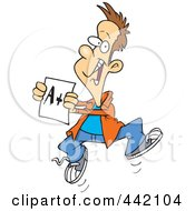 Royalty Free RF Clip Art Illustration Of A Cartoon Happy Boy Holding A Good Report Card by toonaday