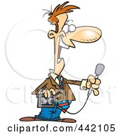 Royalty Free RF Clip Art Illustration Of A Cartoon News Reporter Holding A Microphone