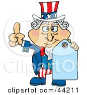 Clipart Illustration Of An American Uncle Sam Holding A Blank Blue Price Tag