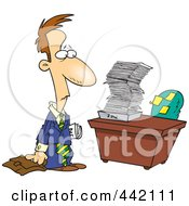 Royalty Free RF Clip Art Illustration Of A Cartoon Businessman Returning To A Big Inbox