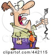 Royalty Free RF Clip Art Illustration Of A Cartoon Businessman Holding A Ripped Cable