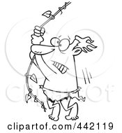 Royalty Free RF Clip Art Illustration Of A Cartoon Black And White Outline Design Of A Reluctant Man Swinging On A Vine by toonaday