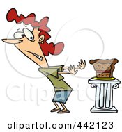 Royalty Free RF Clip Art Illustration Of A Cartoon Woman Resisting Cake by toonaday