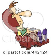 Royalty Free RF Clip Art Illustration Of A Cartoon Man Sitting In A Recliner And Watching Tv by toonaday