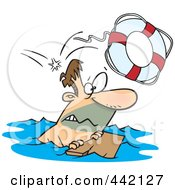 Royalty Free RF Clip Art Illustration Of A Cartoon Overboard Man Floating On Wood by Ron Leishman