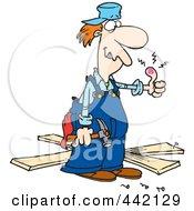 Poster, Art Print Of Cartoon Repair Man With A Throbbing Thumb