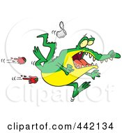 Royalty Free RF Clip Art Illustration Of Cartoon Tomatoes Flying At A Rejected Alligator by toonaday
