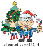 Clipart Illustration Of An American Uncle Sam Celebrating Christmas by Dennis Holmes Designs