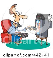 Royalty Free RF Clip Art Illustration Of A Cartoon Man Holding Many Remotes And Watching Tv by toonaday
