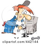 Royalty Free RF Clip Art Illustration Of A Cartoon Computer Repair Man Working On Wires