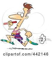 Royalty Free RF Clip Art Illustration Of A Cartoon Man Running A Relay With A Baton