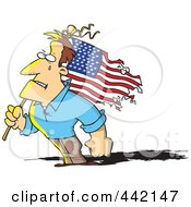 Cartoon Strong Man Holding A Battered American Flag