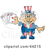 Clipart Illustration Of An American Uncle Sam Holding Playing Cards