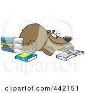 Royalty Free RF Clip Art Illustration Of A Cartoon Bear Reading Books
