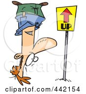 Royalty Free RF Clip Art Illustration Of A Cartoon Reversed Man Upside Down Facing An Up Sign