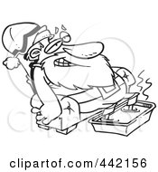 Royalty Free RF Clip Art Illustration Of A Cartoon Black And White Outline Design Of Santa Relaxing With A Foot Bath