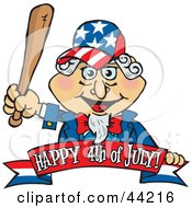 Clipart Illustration Of An American Uncle Sam Holding A Wooden Baseball Bat