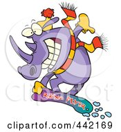 Royalty Free RF Clip Art Illustration Of A Cartoon Snowboarding Rhino by toonaday