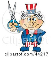 Clipart Illustration Of An American Uncle Sam Holding Scissors by Dennis Holmes Designs