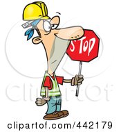 Cartoon Construction Guy Holding A Stop Sign