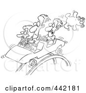 Royalty Free RF Clip Art Illustration Of A Cartoon Black And White Outline Design Of Scared People On A Roller Coaster