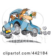 Royalty Free RF Clip Art Illustration Of A Cartoon Male Driver With Road Rage