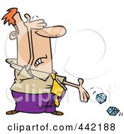 Royalty Free RF Clip Art Illustration Of A Cartoon Businessman Rolling Dice by toonaday