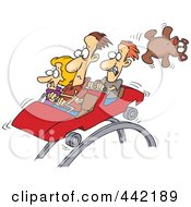 Royalty Free RF Clip Art Illustration Of A Cartoon Scared People On A Roller Coaster