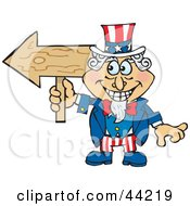 Clipart Illustration Of An American Uncle Sam Holding A Blank Wood Arrow Sign