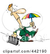 Royalty Free RF Clip Art Illustration Of A Cartoon Businessman Walking Across A Tight Rope by toonaday