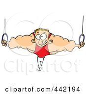 Royalty Free RF Clip Art Illustration Of A Cartoon Strong Olympic Man On The Rings