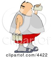 Obese Man Drinking A Can Of Beer From A Six Pack Clipart