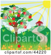 Clipart Illustration Of A The Sun Shining Down On A House Near An Apple Tree In Summer