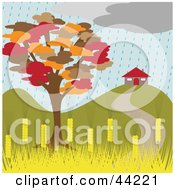 Clipart Illustration Of An Autumn Tree Near A Home On A Rainy Day by kaycee