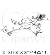 Royalty Free RF Clip Art Illustration Of A Cartoon Black And White Outline Design Of A Roadrunner Wearing Goggles