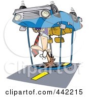 Royalty Free RF Clip Art Illustration Of A Cartoon Man Rolling His Car