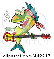 Royalty Free RF Clip Art Illustration Of A Cartoon Rocker Fish by toonaday