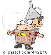 Royalty Free RF Clip Art Illustration Of A Cartoon Kid Dressed As A Robot by toonaday