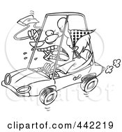Cartoon Black And White Outline Design Of A Female Driver With Road Rage