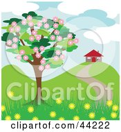 Clipart Illustration Of A Blossoming Tree Near A House In The Spring
