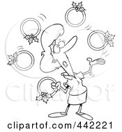 Royalty Free RF Clip Art Illustration Of A Cartoon Black And White Outline Design Of A Christmas Woman Juggling Five Golden Rings by toonaday