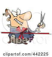 Royalty Free RF Clip Art Illustration Of A Cartoon Businessman Cutting A Ribbon