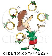 Royalty Free RF Clip Art Illustration Of A Cartoon Christmas Woman Juggling Five Golden Rings
