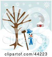 Clipart Illustration Of A Snowman Under A Bare Tree Near A Home On A Snowy Winter Day by kaycee