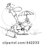 Royalty Free RF Clip Art Illustration Of A Cartoon Black And White Outline Design Of A Businessman Walking Across A Tight Rope by toonaday