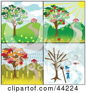 Collage Of Four Seasonal Tree Scenes With Homes And Different Weather