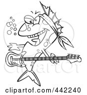Royalty Free RF Clip Art Illustration Of A Cartoon Black And White Outline Design Of A Rocker Fish by toonaday