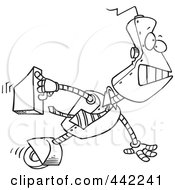 Cartoon Black And White Outline Design Of A Robot Executive