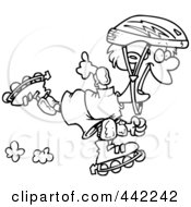 Royalty Free RF Clip Art Illustration Of A Cartoon Black And White Outline Design Of A Roller Blading Boy by toonaday