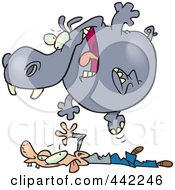 Royalty Free RF Clip Art Illustration Of A Cartoon Hippo Pouncing On A Man by toonaday